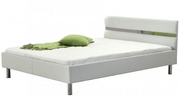 מיטה זוגית אלרו מרופדת דמוי עור בצבע לבן צילום זוית 45