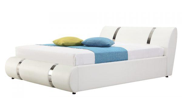 מיטה זוגית אשלי עם ארגז מצעים מרופדת דמוי עור לבן צילום זוית 45