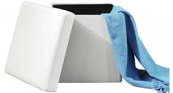 שידה לאחסון בריקס מרופדת דמוי עור בצבע לבן שידה פתוחה