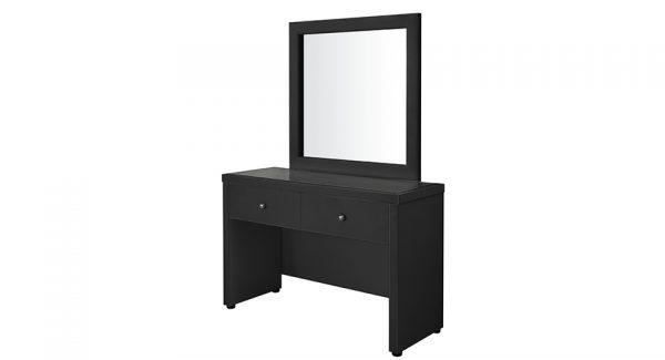 קומודה+2 מגירות עם מראה דאלי דמוי עור בצבע שחור צילום צד