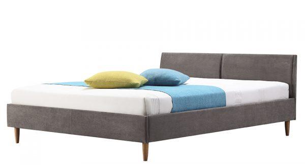 מיטה זוגית דונטו מרופדת בד בצבע אפור צילום צד 45