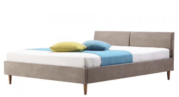 מיטה זוגית דונטו מרופדת בד בצבע חום אפרפר צילום זוית 45