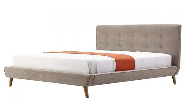 מיטה זוגית דילן מרופדת בד בצבע חום אפרפר זוית 45