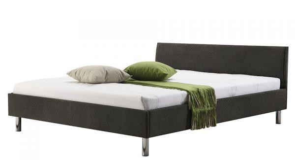 מיטה זוגית היפו מרופדת בד בצבע אפור כהה צילום זוית 45