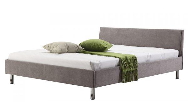 מיטה זוגית היפו מרופדת בד בצבע אפור בהיר צילום זוית 45