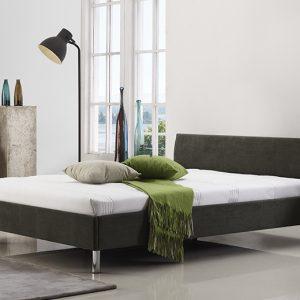 מיטה זוגית היפו מרופדת בד בצבע אפור כהה תמונת רקע