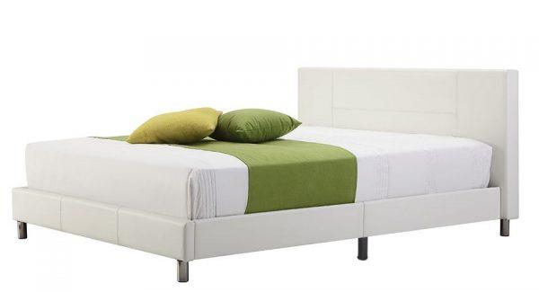 מיטה זוגית מעץ מלא מרופדת דמוי עור לבן מותאמת למזרן 160*200.