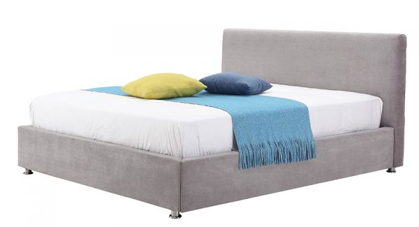 מיטה זוגית לופטי עם ארגז מצעים דו שלבי מרופדת בד בצבע אפור בהיר צילום זוית 45