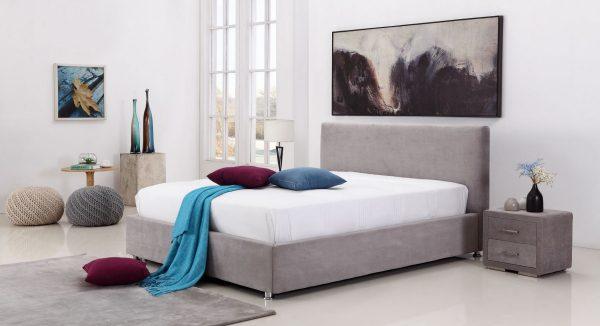 מיטה זוגית עם ארגז מצעים בריפוד בד עם מנגנון הרמה דו שלבי ייחודי ל-AEF