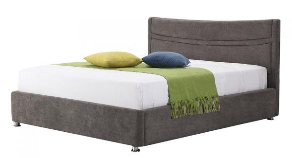 מיטה זוגית לוטם עם ארגז מצעים דו שלבי מרופדת בד בצבע אפור צילום זוית 45