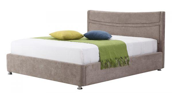 מיטה זוגית לוטם עם ארגז מצעים דו שלבי מרופדת בד בצבע חום אפרפר תמונת זוית 45