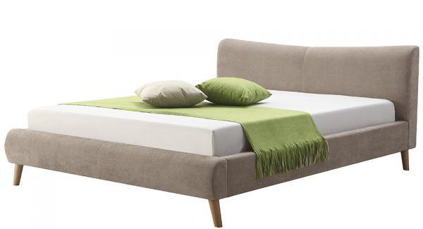 מיטה זוגית נובל מרופדת בד בצבע חום אפרפר צילום זוית 45