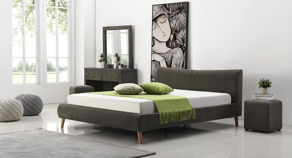 מיטה זוגית נובל מרופדת בד בצבע אפור כהה תמונת רקע