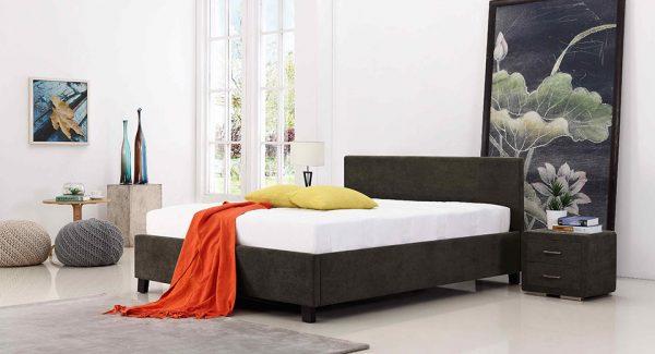 מיטה זוגית פרלין עם ארגז מצעים מרופדת בד בצבע אפור כהה