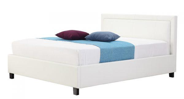מיטה זוגית סולי עם ארגז מצעים מרופדת דמוי עור לבן זוית 45