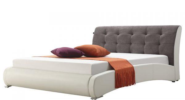 מיטה זוגית סורבט מסגרת מרודפת דמוי עור ראש המיטה מרופד בד בצבע לבן אפור זוית 45
