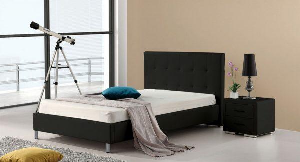 חדר שינה עם מיטת נוער מיטה וחצי מעוצבת מרופדת דמוי עור שחור דגם סוון