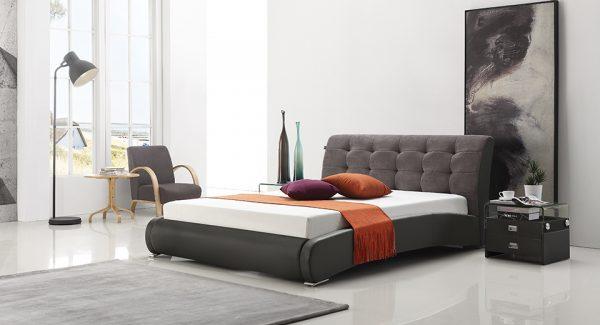 מיטה זוגית סורבט מסגרת מרודפת דמוי עור ראש המיטה מרופד בד בצבע שחור אפור תמונת רקע
